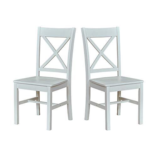 "Ravenna Home Solid Pine Dining Chair with Cutout Back, 38""H, White Finish, Set of 2"