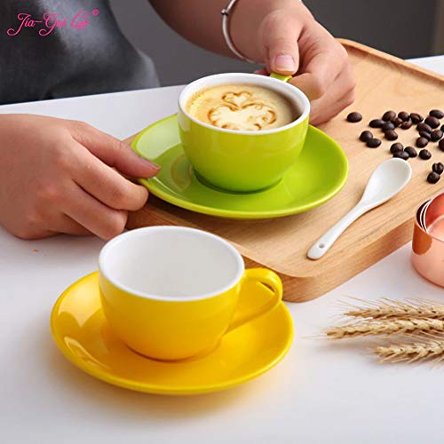 150ml high-Grade Ceramic Coffee Cups Coffee Cup Set Simple European Style Cappuccino Flower Cups Latte ()