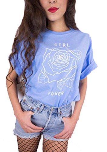 T Top Maglietta Girl Lettera Donne Sciolto Manica Shirt Corta Tees Camicetta NiSengs Lago Estate Blu Stampa Power Casuale PIXRzIn