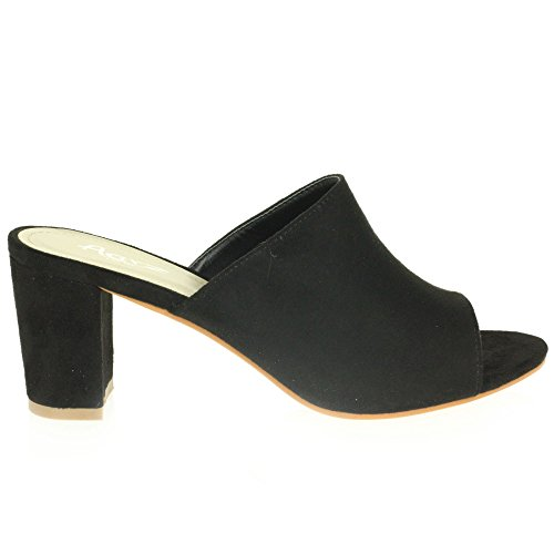 AARZ LONDON Frau Damen Lässige Mule Offener Zeh Weich Mittel Blockabsatz Schlüpfen Party Sandalen Schuhe Größe Schwarz