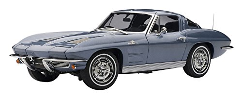 - 1963 Chevrolet Corvette Split Window Sting Ray Silver Blue 1/18 Autoart