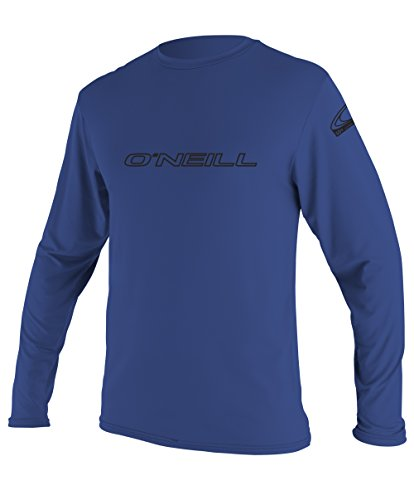 O'Neill Wetsuits Wetsuits UV Sun Protection Mens Basic Skins Long Sleeve Tee Sun Shirt Rash Guard, Pacific, Large (Guard Rash Shirts Oneill)