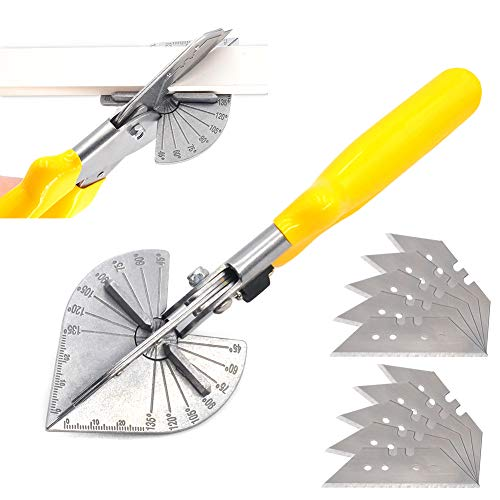 Multi Angle Miter Cutter, Hand Shear Purpose Trim Tools, 45 to 120 Degree with 10 Spare Blade for Plumbers Electricians and Carpenters