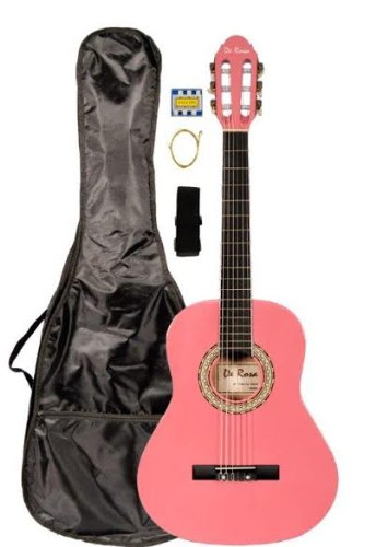 "36"" Inch 3/4 Pink Student Beginner Classical Nylon String Guitar and Carrying Bag, Strap, & DirectlyCheap(TM) Translucent Blue Medium Guitar Pick (PRO-K Series)"