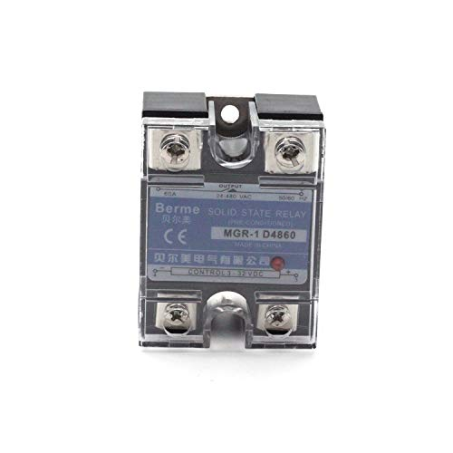 Aodesy MGR-1 D4860 DC 3-32V 60A Output Single Phase SSR Solid State Relay with Protection Cover (3 Phase Solid State Relay 60 Amp)