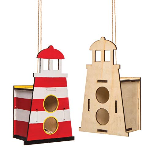 Baker Ross Light House Wooden Birdhouse Kits (Pack of 2) Birdhouses to Paint and Decorate