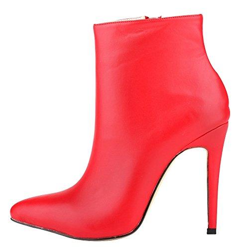 Toe Tacón Pointed Rojo HooH Cremallera Corto Mujer Botas alto Botines xqvIITwH