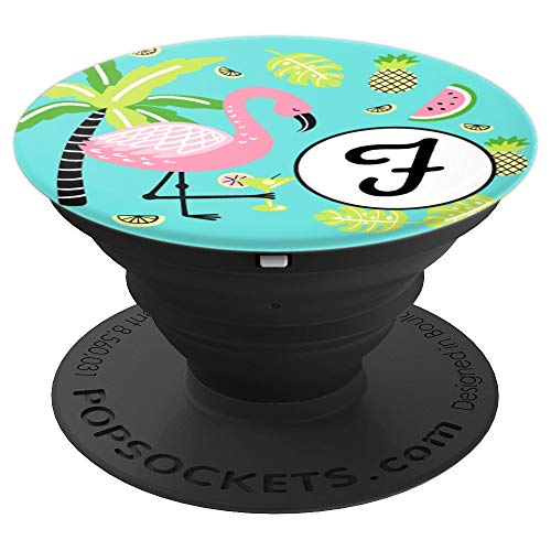 Monogram Letter F Pink Flamingo & Fruits Aqua Teal Blue - PopSockets Grip and Stand for Phones and Tablets]()