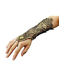 Ladies Womens Steampunk Goth Costume Gold Lace Fingerless Gloves