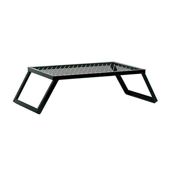 Texsport Heavy Duty Over Fire Camp Grill 2 Heavy-duty folding steel campfire grill. Welded high-quality steel Steel-mesh grill top for sturdy support