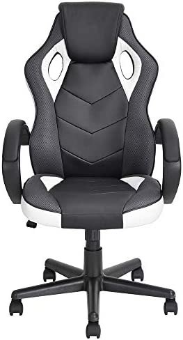 Homycasa Ergonomic Computer Seat Faux Leather Office Racing Desk Chair White