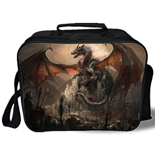 Dragon 3D Print Insulated Lunch Bag,Medieval Fight with Gothic Monster Horror War Middle Age Style Vintage Print,for Work/School/Picnic,Umber Tan Cinnamon]()