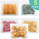 Reusable Storage Bags, 5 Pack Leakproof Reusable Sandwich Bags, Reusable Snack Lunch Bag, BPA FREE Reusable Ziplock Bag for Food Storage Make-up Travel Home Organization FDA Approved