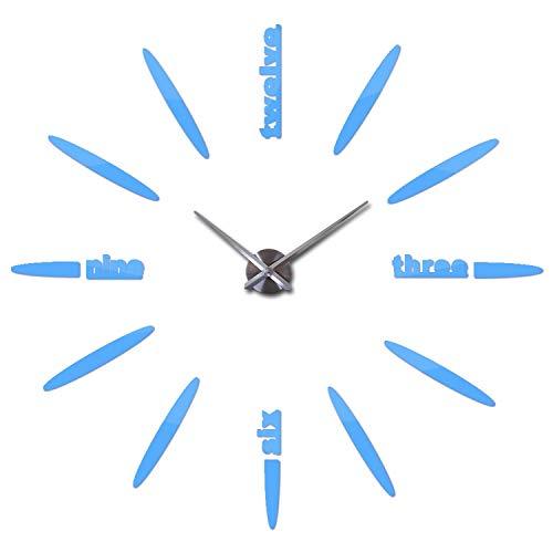 (Wall Clock Clocks Watch Stickers DIY 3D Acrylic Mirror Home Decoration Quartz Balcony/Courtyard Needle,Sky Blue,37Inch)
