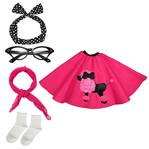 50s Womens Costume Accessory Set - Poodle Skirt, Bandana Tie Headband,Chiffon Scarf, Cat Eye Glasses,Bobby Socks,Hot Pink ()