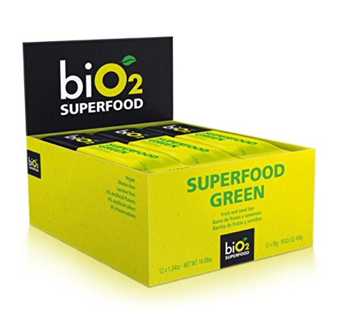 biO2 Plant-Based Superfood Bar (Green) Fruit, Seed, and nut bar 12 Unit Box (12 x 1.34 oz) NET WT. 16.08 oz (456g)