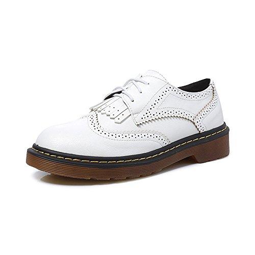 OCHENTA Zapatos de plataforma zapatos de encaje plana de Moda #07Blanco