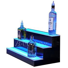 24″ 3 Step Lighted Liquor Bottle Display Shelf with LED Color Changing Lights Ships Next Busin