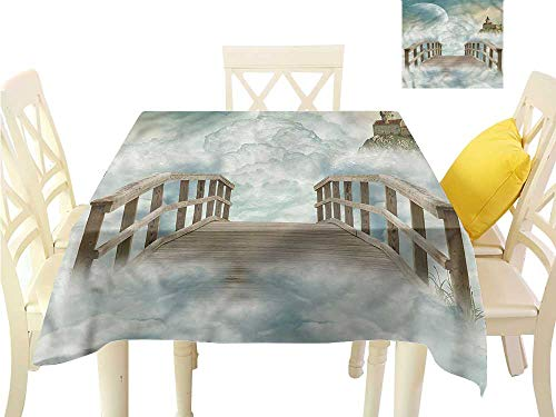 Davishouse Elegant Waterproof Spillproof Polyester Fabric Table Cover Cartoon Bridge Design Great for Buffet Table W63 x L63