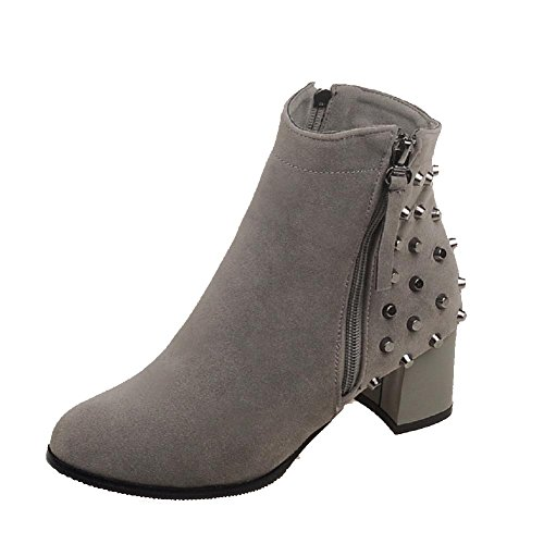 Zipper Heels Gray Kitten Toe Women's Solid AgooLar Boots Closed Frosted Round wF58qvEva