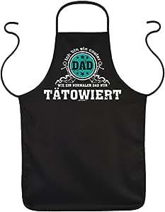 Delantal con diseño–Cooler Dad, como un Dad normal, Solo tätowiert–Regalo para el Día del Padre o Cumpleaños–Negro