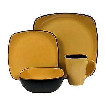Corelle Hearthstone Stoneware Square 16-Piece Dinnerware Set Service for 4 Turmeric Yellow  sc 1 st  Amazon.com & Amazon.com | Corelle Hearthstone Stoneware Square 16-Piece ...