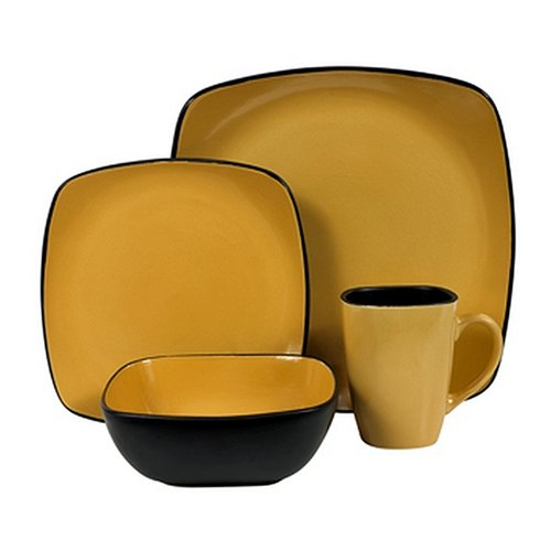 Corelle Hearthstone Stoneware Square 16-Piece Dinnerware Set Service for 4 Turmeric Yellow (B0007XXS1S) | Amazon price tracker / tracking Amazon price ...  sc 1 st  camelcamelcamel.com & Corelle Hearthstone Stoneware Square 16-Piece Dinnerware Set ...