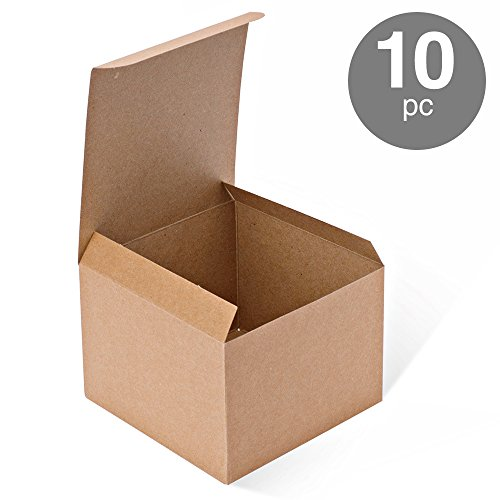 MESHA Kraft Boxes 10 Pack 5x 5 x 3.5 Inches, Brown Cardboard Gift Boxes with Lids for Gifts, Crafting, Cupcake Boxes (Paper Gift Boxes)