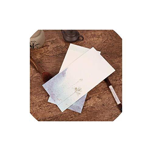(5 Pcs/Lot Vintage Landscape Envelope Postcards Greeting Card Cover Paper Envelopes Stationery School Supplies Gift Envelope,Green,11X15.3Cm)