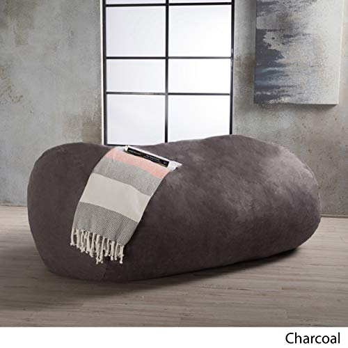 Asher Faux Suede 6.5-Foot Lounge Beanbag Chair Christopher Knight Home (Charcoal)