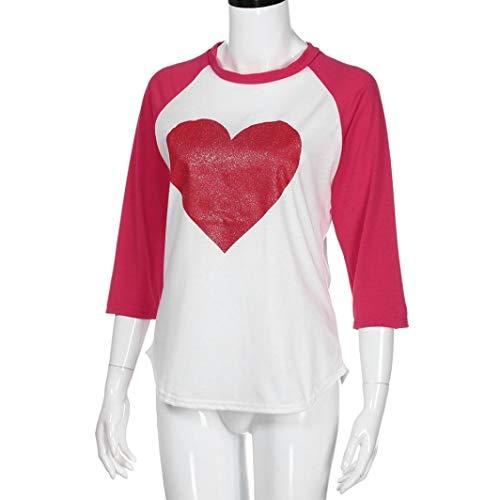 Pandaie Women Jacket,Women Long Sleeve Round Neck Love Heart Printing Shirt Top Blouse XL by Pandaie (Image #4)