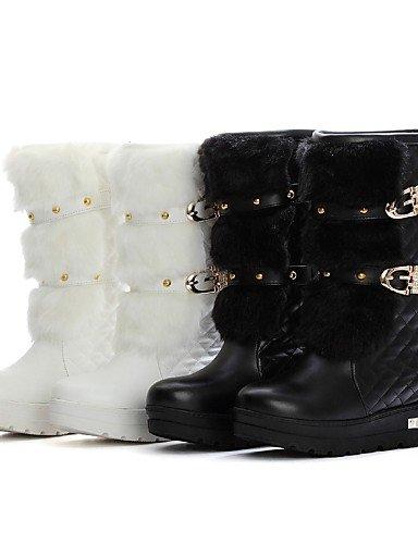 Uk4 Xzz Eu36 Eu39 Moda Cuña Negro Cn39 Vestido Uk6 Mujer White Zapatos La Cn36 A De Semicuero Black us6 Casual Punta Tacón us8 Botas Blanco Cuñas Vellón Redonda rrwFRcqB4