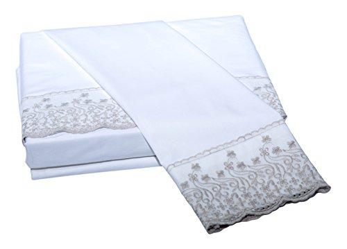 Belle Epoque Traditional Padua LACE Trellis Sheet Set, Queen, White/Taupe