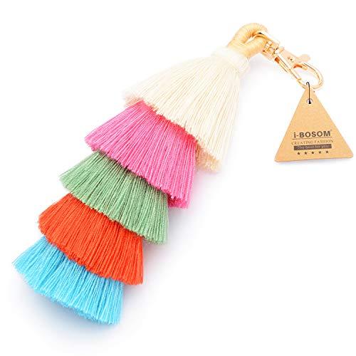 Colorful Boho Pom Pom Tassel Bag Charm Key Chain (E -