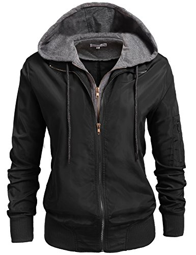 New BeautyUU Unibelle Womens Relaxed Fit Zip Up Hoodie Military Anorak Bomber Jacket S-XXL