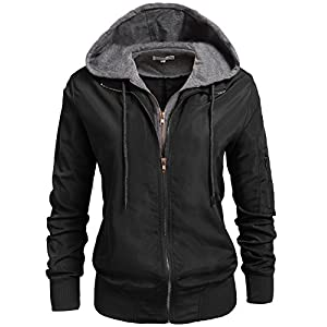 Unibelle Womens Zip Up Motorcycle Short Jacket with Hoodie Black XXL