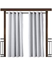 TWOPAGES Green Outdoor Curtain Drape Grommet 52 W x 96 L Inch, for Front Porch Pergola Cabana Covered Patio Gazebo Dock Beach Home (Set of 2 Panels)
