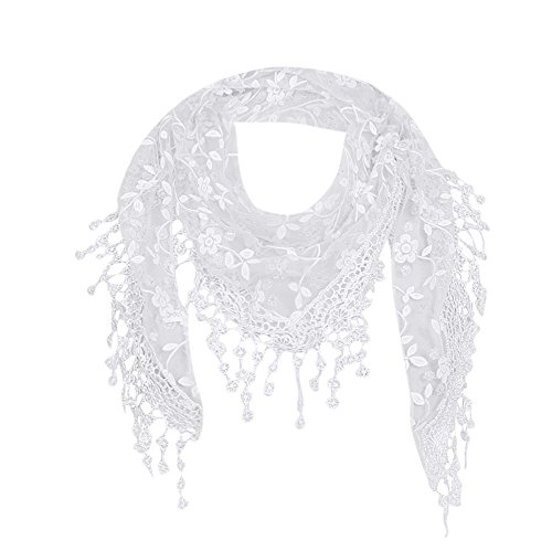 ❤️ Maonet Clearance Lace Tassel Sheer Burnt-out Floral Print Triangle Mantilla Scarf Shawl Neck Wrap (White)