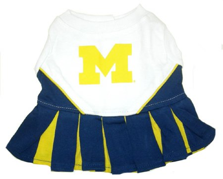 Michigan Wolverines Dog Cheer Leading Dress & Leash Set Size SM