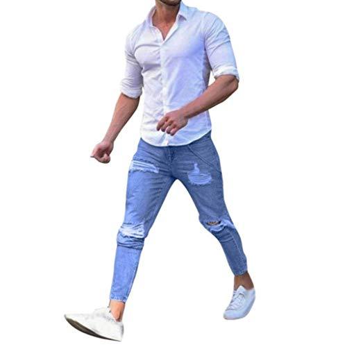 Con Fit Uomo Blau Strappati Decorati Jeans Classiche Pantaloni Slim Ragazzi Denim Skinny Nastrati Da Biker cWaApZI