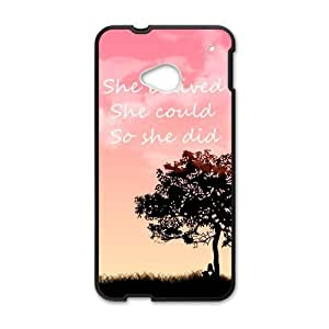 "ALLCASE ""SHE BELIVED SHE COULD ,SO SHE DID "" Words Design HTC One M8 Black Protective Snap On Case with Plastic"