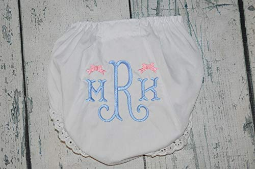 Monogrammed Girl Bow Baby Bloomers, Personalized Diaper Cover with Curly Fishtail Monogram