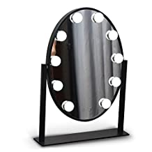 Hollywood Round Dimmable Makeup Vanity Mirror with 10 LED Bulbs Lighted Table Top Mirror Dual Switch Touch Screen