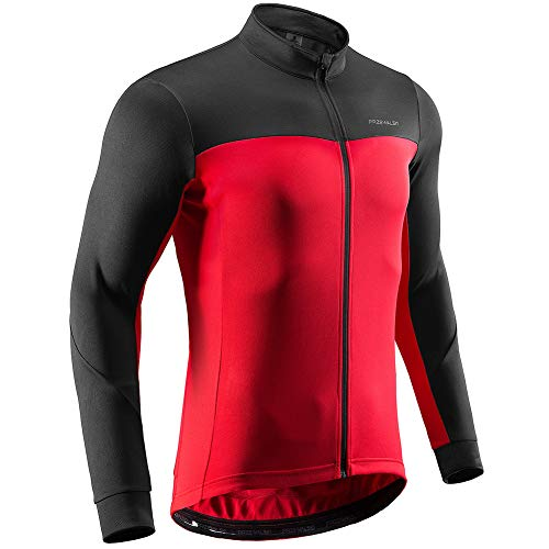 Przewalski Men's Winter Thermal Cycling Jersey Long Sleeve Bike Jacket Breathable Full Zipper Bicycle MTB Shirt, Classic Series, Red M ()