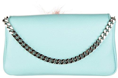 Leder Schultertasche Bag Tasche Umhängetasche baguette Damen Fendi blu micro 1Awqx5dC
