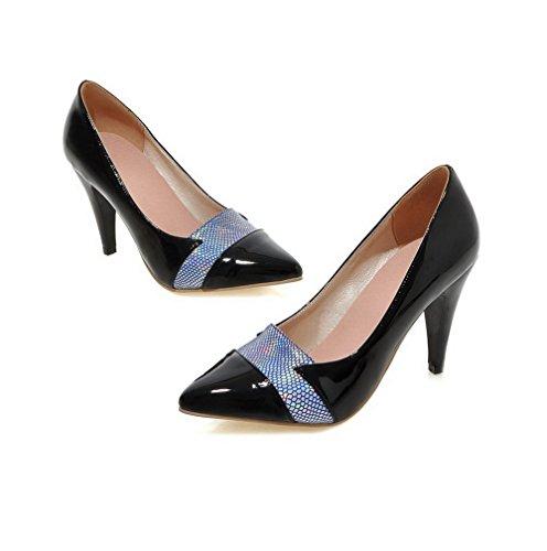VogueZone009 Damen Spitz Zehe Ziehen auf Blend-Materialien Gemischte Farbe Hoher Absatz Pumps Schuhe Schwarz