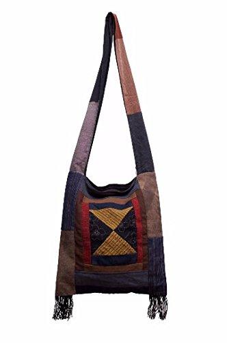 BTP! Thai Monk Buddha Cotton Sling Crossbody Messenger Bag Purse Hippie Hobo Large (Patchwork with (Patchwork Large Hobo)