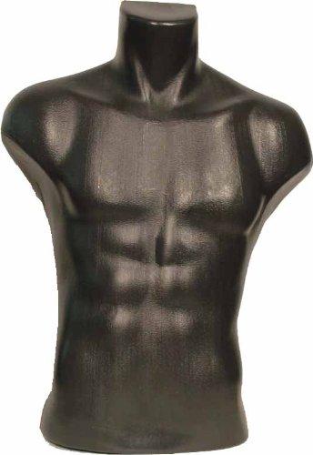 Male Torso Dress Form Mannequin Display Bust Black (#5027)
