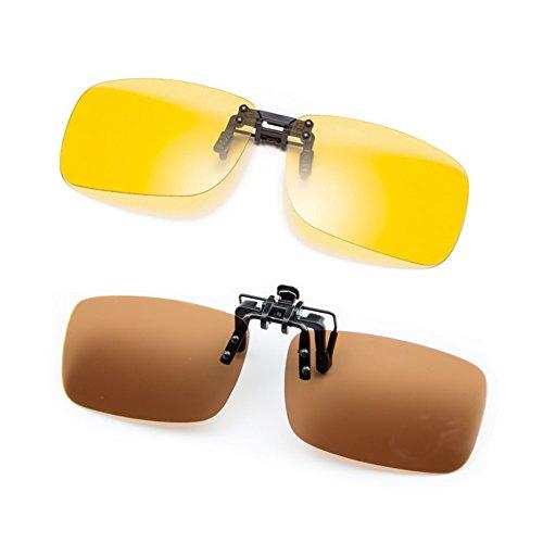 Cyxus Clip on Polarized Sunglasses (2 Pack) (Sunglasses At Night Von Corey Hart)