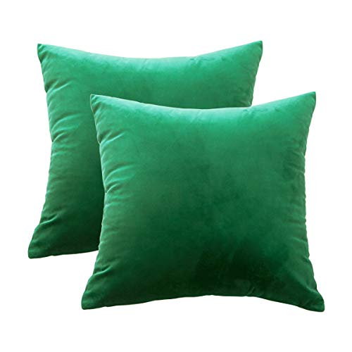 GreatforU Solid Decorative Square Throw Pillow Covers Pillowcases 100% Velvet Cushion Cover for Sofa Couch Chair Bedroom Office Car Set of 2 18 x 18 Inch 45 x 45 cm (Dark Green, 2 Pieces, 18